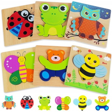 Zhaitio Wooden Puzzles Toddler Toys Gifts for 1 2 3 Year Old Boys Girls, 6 Pack Animal Jigsaw Puzzles Montessori Toys, Learning Educational Christmas Birthday Gifts for Girls Boys Ages 1-3