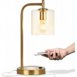 Houtiu Elizabeth Office Desk Lamp - Wireless Charging Pad and USB Port – Living Room Table Light for Midcentury, Industrial & Farmhouse Decor - Hanging Glass Shade - LED Bulb - Brass Gold Color