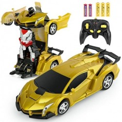 Remote Control Car Transforming Robot, Wovzi Transform Car Robot with One Button Transformation and 360 Degree Rotating Drifting, RC Cars Robot Toys for Kids Boys and Girls