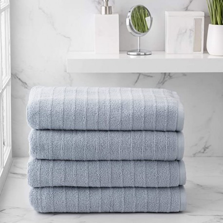 MAJJAKJH 100% Cotton 4 Piece Bath Towels | Flax Brown | Stripe Textured | Supersoft & Durable | Highly Absorbent & Quick Dry | Ideal for Everyday Use | Machine Washable