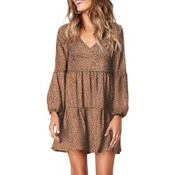 LiuZhuQin Womens Leopard Tunic Dress Lantern Sleeve V Neck Casual Loose Flowy Swing Shift Dresses S-XL