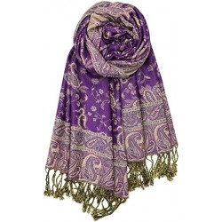Grumat Soft Silky Reversible Paisley Pashmina Shawl Wrap Scarf with fringed edges