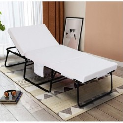 """YOUGUO Adjustable Folding Bed, Rollaway Guest Bed with Adjustable Head Incline ( 0°-175°), 3.2 Inch Removable Mattress & Side Pocket - Heavy Duty Portable Metal Frame - Twin Size ( 78"""" L x 31"""" W )"""