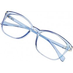 FelixAim Blue Light Blocking Glasses for Women/Men, Anti Eyestrain, Computer Reading, TV Glasses, Stylish Square Frame, Anti Glare(Clear Blue,No Magnification)