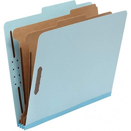 """CPPZDP Classification Folder- 100% Recycled, 2 Dividers, 2"""" Embedded, Letter, Light Blue, 10 per Box"""