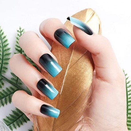Tuvaaz 24pcs 12 Different Size Simple Gardient Blue Black Medium Length Square Full Cover False Nails with Design
