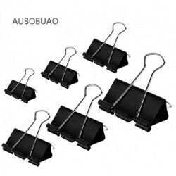 AUBOBUAO Binder Clips Paper Clamps Stationery folder Assorted Sizes 100 Count (Black)