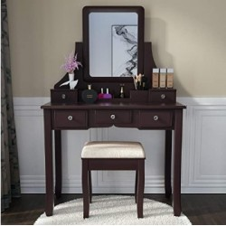 BUNDMAN anity Set with Mirror Dressing Table Vanity Makeup Table 5 Drawers/Dividers Movable Organizers,Espresso