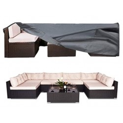 OZOV 100% Waterproof Patio Furniture Cover, Fits 8-12 Seat, Anti-UV Snow-Proof Outdoor Sectional Furniture Cover, Rectangular Table Chairs Set Covers with Windproof Buckles Air Vents (126x63x28 in)