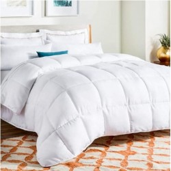 OWLEASY All-Season White Down Alternative Quilted Comforter - Corner Duvet Tabs - Hypoallergenic - Plush Microfiber Fill