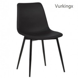 Vurkingx Monte Dining Chair in Black Faux Leather and Black Powder Coat Finish