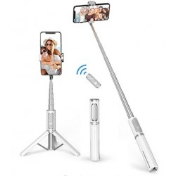 Nabelisen Bluetooth Selfie Stick Tripod, Extendable 3 in 1 Aluminum Selfie Stick with Wireless Remote and Tripod Stand 270 Rotation for iPhone 12/11 Pro/XS Max/XS/XR/X/8/7, Samsung and Smartphone White