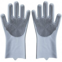 OHHANI Magic Silicone Gloves Reusable Wash Scrubber Heat Resistant Cleaning Tool Great for Household, Dishwasher, Washing The Car, Pet Hair Care and Massage a Pair Gray
