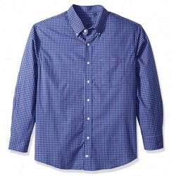 OAKKEEYS Men's Button Down Long Sleeve Stretch Performance Gingham Shirt