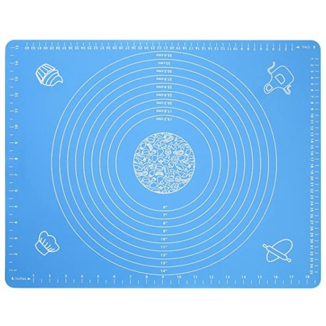 lwzsyap Silicone Baking Mat for Pastry Rolling Dough with Measurements -  BPA Free Non stick and Non Slip Blue Table Sheet Baking Supplies