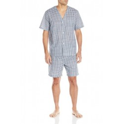 HAIJUN Men's Broadcloth Short Sleeve Pajama Set