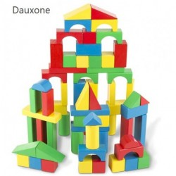 Dauxone 100-Piece Building blocks Wood Blocks Set