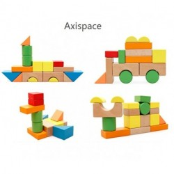 Axispace  Large Wooden Blocks Construction Building Toys Set Stacking Bricks Board Games 32 Pieces