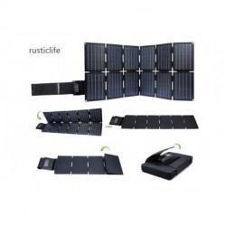 rusticlife 100W Foldable Solar Panel Charger Kit for Portable Generator Power Station Smartphones Laptop Car Boat RV Trailer 12v Battery Charging (Dual 5V USB & 19V DC Output)