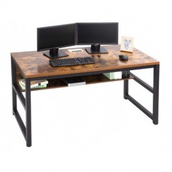 Smisan  Computer Desk with Bookshelf/Metal Desk Grommet Hole Cable Cover (Industrial/Rustic Brown)