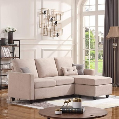 Vasacava onvertible Sectional Sofa Couch, L-Shaped Couch with Modern Linen Fabric for Small Space Dark Beige
