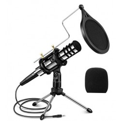 DDIKAA Recording Microphone, DDIKAA 3.5mm Condenser Microphone Plug and Play, PC Microphone with Filter Suitable for Podcasting, Voice Recording, Skype, YouTube, Games, Laptop, Computer, Phone
