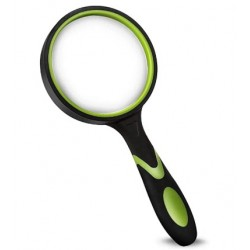 MIDYOO Shatterproof Magnifying Glass 4X Handheld Reading Magnifier for Seniors & Kids, 75mm Large Magnifying Lens with Non-Slip Rubber Handle for Reading and Hobbies