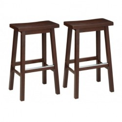 ririyi Classic Solid Wood Saddle-Seat Kitchen Counter Stool with Foot Plate 29 Inch, Walnut, Set of 2