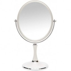 Pevrae Magnifying Makeup Vanity Mirror, 8-inch ABS Plastic Double Sided Swivel Vanity Mirror Retro Make Up Mirror