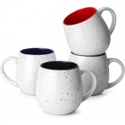 JDTTOZ 20 Ounces Coffee Mugs, Large Porcelain Mug Sets for Coffee, Tea, Cocoa, Set of 4, Multi Colors