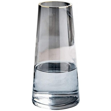 JDTTOZ Glass Flower Vase,Ins Modern Crystal Clear Glass Vase for Table,Centerpieces,Kitchen,Office,Living Room,Wedding Decoration(Crystal Gray)