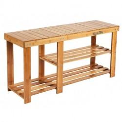 HILLGLOBAL Bamboo Shoe Rack Bench 3-Tier