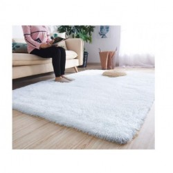Lbris Super Soft Modern Shag Area Rugs Fluffy Living Room Carpet Comfy Bedroom Home Decorate Floor Kids Playing Mat 5.3 Feet by 7.5 Feet, White