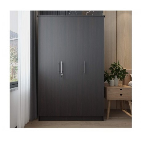 BaoPin Bedroom Armoire Wardrobe Wooden Closet Clothes Cabinet Storage with 3 Doors, Shelves, Hanging Rod, Wood Wardrobe Closet with Lock for Bedroom, Finish in Dark Brown