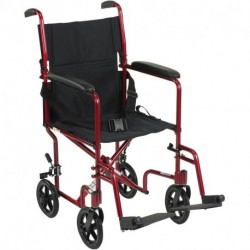 "Lonruf Aluminum Transport Chair, 19"", Red"