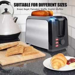 JEUTIEN Toaster 2 Slice Toasters 2 Slice Best Rated Prime Toaster Wide Slot with Removable Crumb Tray Two Slice Toaster Stainless Steel Toasters with 7 Bread Shade Settings, Bagel, Defrost, Cancel Function for Bread, Waffles