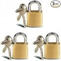 MaxDuty 3 Pc Small Metal Padlock Solid Brass Luggage, Backpack, Diary, Jewelry Box Lock with Key