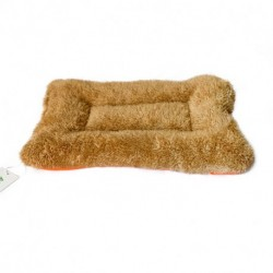 AIMerss Crate Mat, Dog Bed, Cushioned, Durable Plush, Soft, Textured, Bolstered, Brownish yellow, Small (20x14.5)