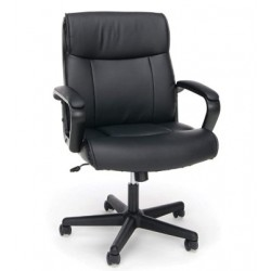 Hciszl Collection Bonded Leather Executive Chair with Arms, in Black