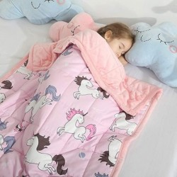 PANZGR Minky Kids Weighted Blanket 5lbs 36 x 48 inches, Soft Kids and Toddler Comforter Great for Calming and Sleeping, Child Bed Size, Pink Unicorn
