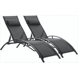 Ulsum Outdoor  Patio Chaise Lounge Chair Aluminum 3 Set