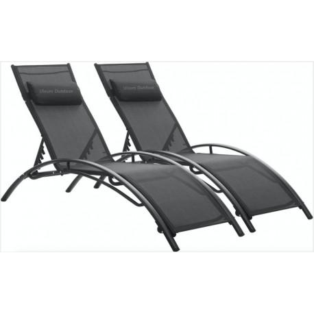 Ulsum Outdoor  Patio Chaise Lounge Chair Aluminum 3 Set