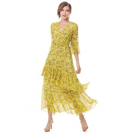 MOOLIGIRL Womens Dresses Yellow Floral Maxi Dress V Neck High Waist Chiffon Beach Summer Party Casual Long Dresses