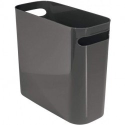 """GFABUT Slim Plastic Rectangular Small Trash Can Wastebasket, Garbage Container Bin with Handles for Bathroom, Kitchen, Home Office, Dorm, Kids Room - 10"""" High, Shatter-Resistant - Slate Gray"""