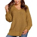 SDOHIG Women's Winter Fuzzy Popcorn Sweater V Neck Long Sleeves Loose Fit Sweatshirt Solid Tops Pullover