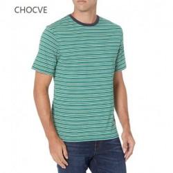 CHOCVE Men's 2-Pack Slim-Fit Short-Sleeve Crewneck Stripe T-Shirt