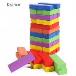 Kzancn Lotus Wood Building Blocks,Stacked Game, Stacking Height, Inverted Tower, Mixed Colors, (48 PCS)