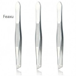 Feaxu (3 Pack) Slant Tweezers - Precision Stainless Steel Slant Tip Tweezers Hair Plucker for Hair and Eyebrows Personal Care (Silver Tone)