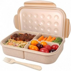 PANNIXIA Bento Box for Adults Lunch Containers for Kids 3 Compartment Lunch Box Food Containers Leak Proof Microwave Safe(Flatware Included, Champagne)