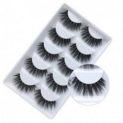 Celecos False Eyelashes, 3D Faux Mink Fake Eyelashes Handmade Dramatic Thick Crossed Cluster False Eyelashes Black Nature Fluffy Long Soft Reusable(5 Pairs)